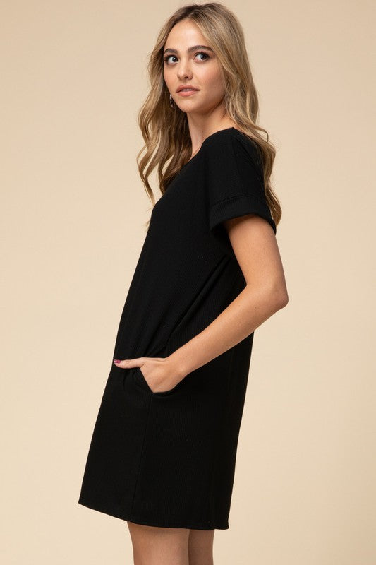 Effortlessly Ribbed Dress - Black