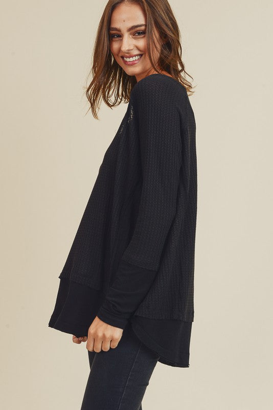 Freeing the People Raw Edge Top - Black