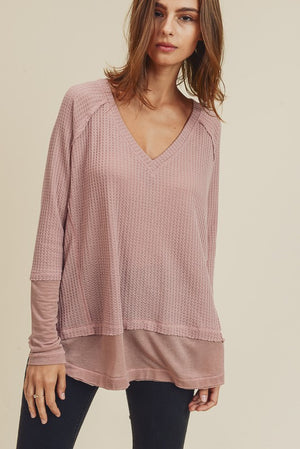 Freeing the People Raw Edge Top - Dusty Pink
