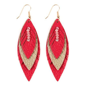 Layered Leather Feather Earrings - Fuchsia