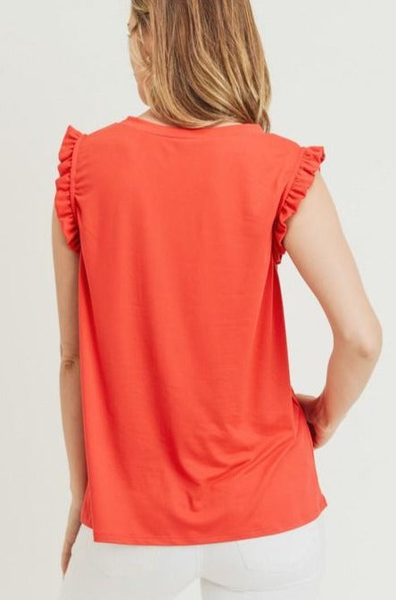 Savannah Ruffle Detail Top - Tomato