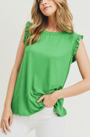 Savannah Ruffle Detail Top - Green