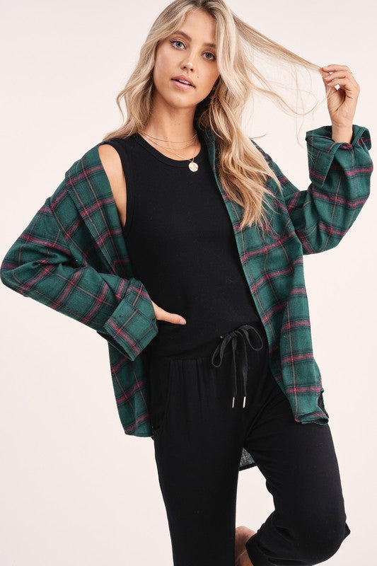 Cabin Fever Plaid Button Down  - Hunter Green