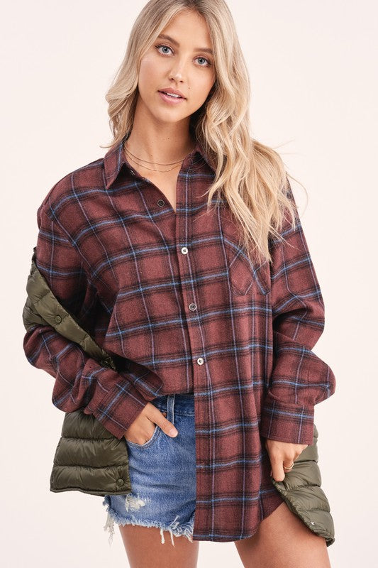 Cabin Fever Plaid Button Down  - Chocolate