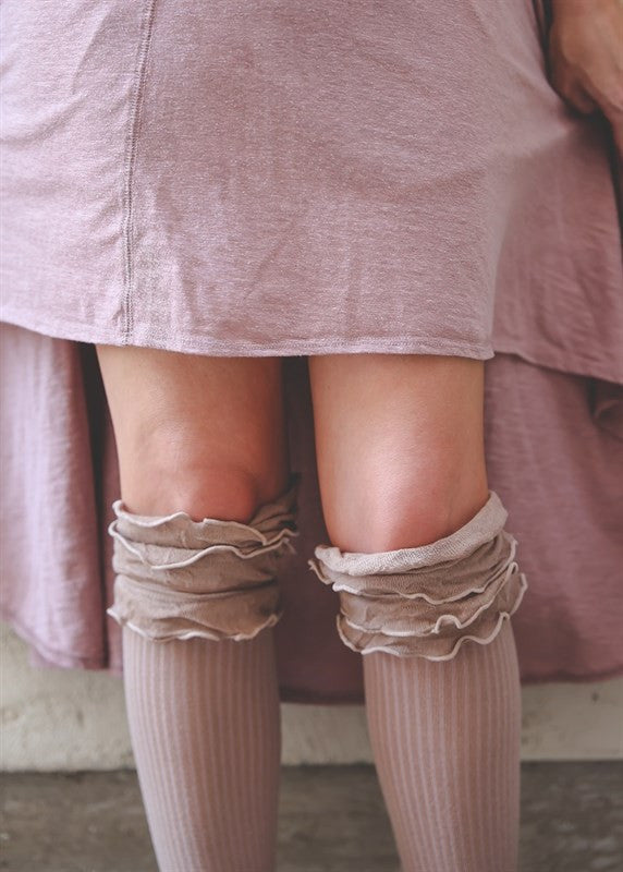 Ruffled Knee High Boot Socks {Camel}