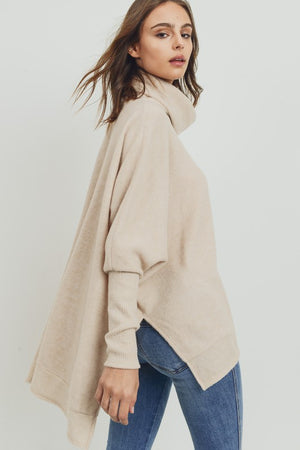 Thank Me Later Cowl Neck Sweater - Oatmeal