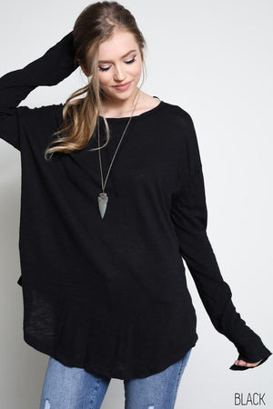 Slub Long Sleeve Tee - Black