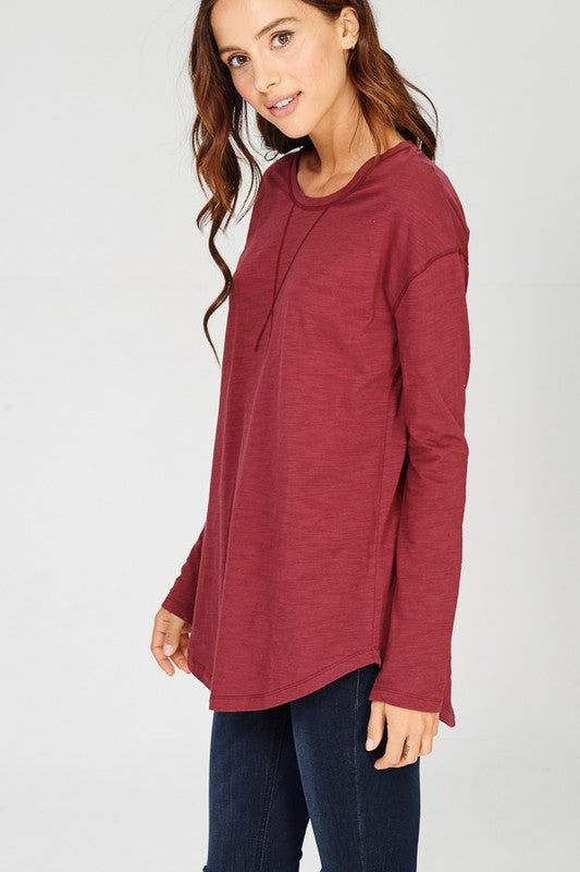 Slub Long Sleeve Tee - Burgundy