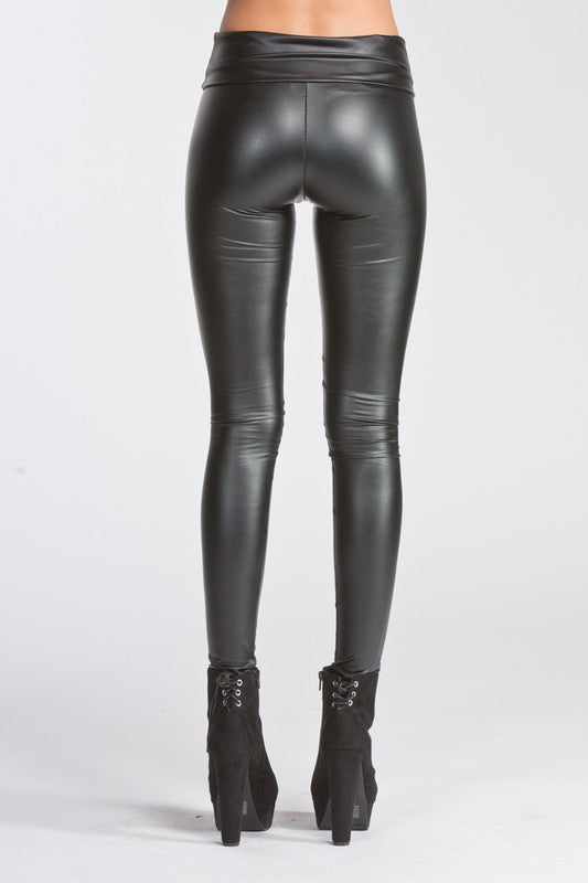 Idol Faux Leather Leggings High Waisted