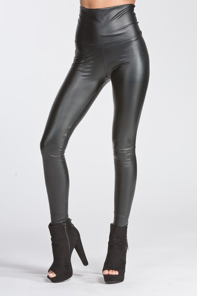 Pull On Faux Leather Leggings - High Waisted - PREORDER