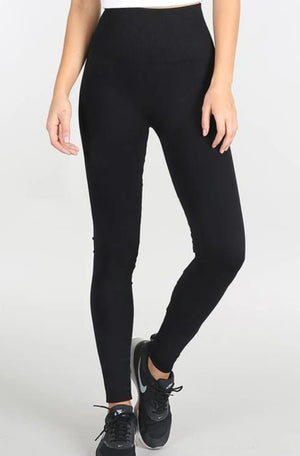 High Waisted Band Leggings - Black