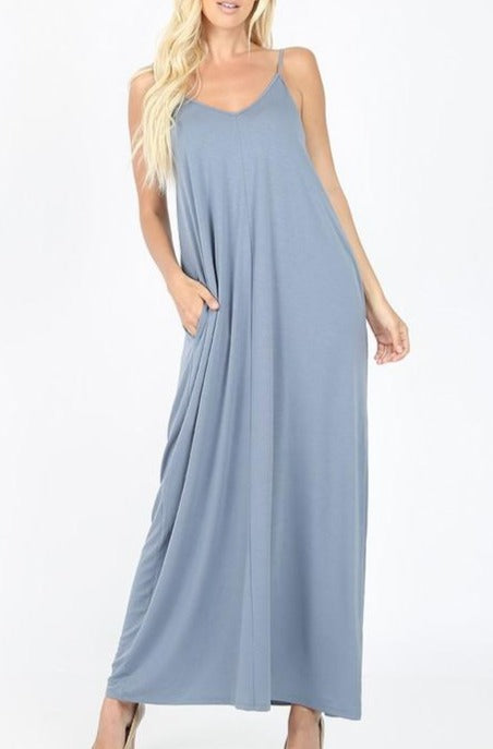 Easy Flow Maxi Dress - Dusty Blue
