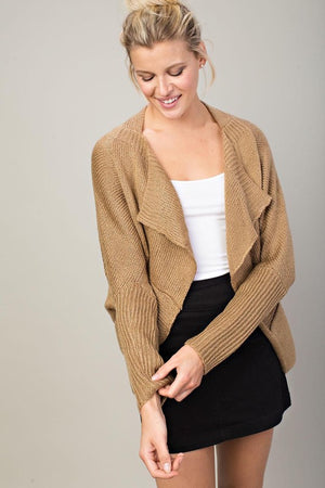 Just Breathe Draped Cardigan - Brown