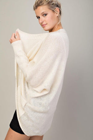 Just Breathe Draped Cardigan - Ivory