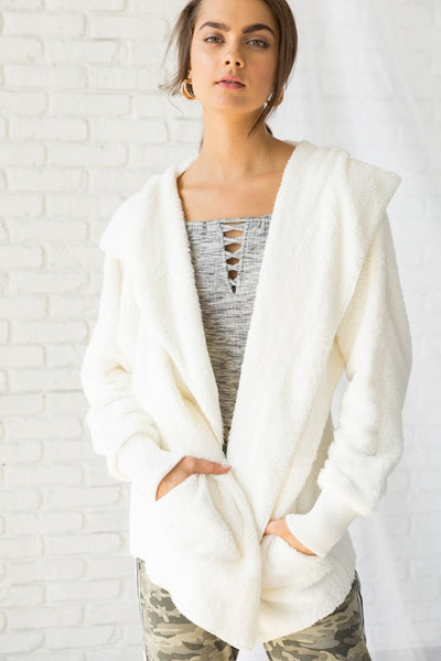 Soft As Fur Hooded Jacket - Off White