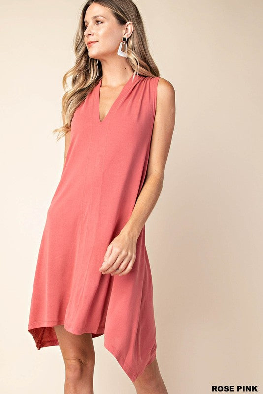 Shark Bite Dress - Rose Pink