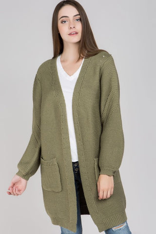 Bubble Sleeves Ribbed Cardigan