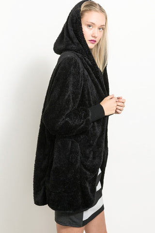 Soft As Fur Hooded Jacket - Black