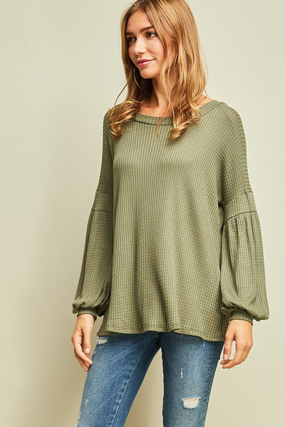 Waffle Knit Bubble Sleeve Top - Olive