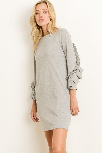 Ruffle Sleeve Jersey Dress