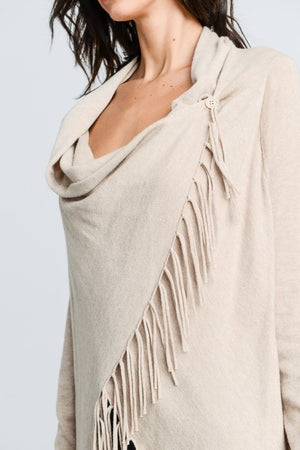 Wrapped In Fringe Cardigan - Oatmeal