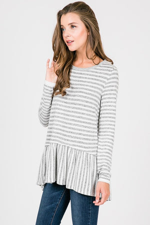 Stripe Long Sleeve Peplum