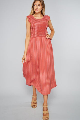 Smocked Midi Dress - Sailor Red