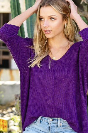 Day By Day Lightweight Sweater Top - Berry