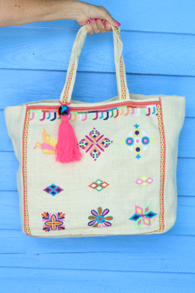 Embroidered Jute Bag by America & Beyond