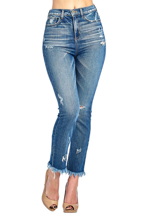 Destroyed Straight Frayed High Rise Jeans