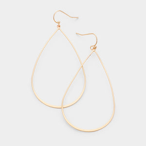 Across The Room Teardrop Hoop Earrings - Matte Gold