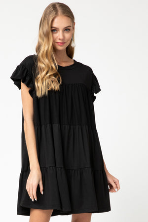 Sunny Days Are Here Tiered Dress - Black
