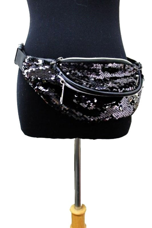 Sequin Fanny Pack - Black