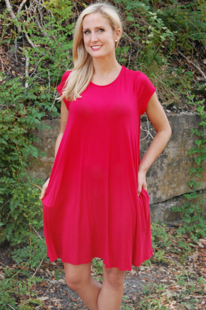 Flying Trapeze Dress {Red}