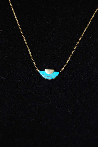 Crescent Stone Pendant Necklace {Turquoise}