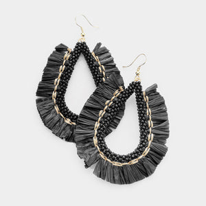 Dream Chaser Fringe Beaded Earrings - Black