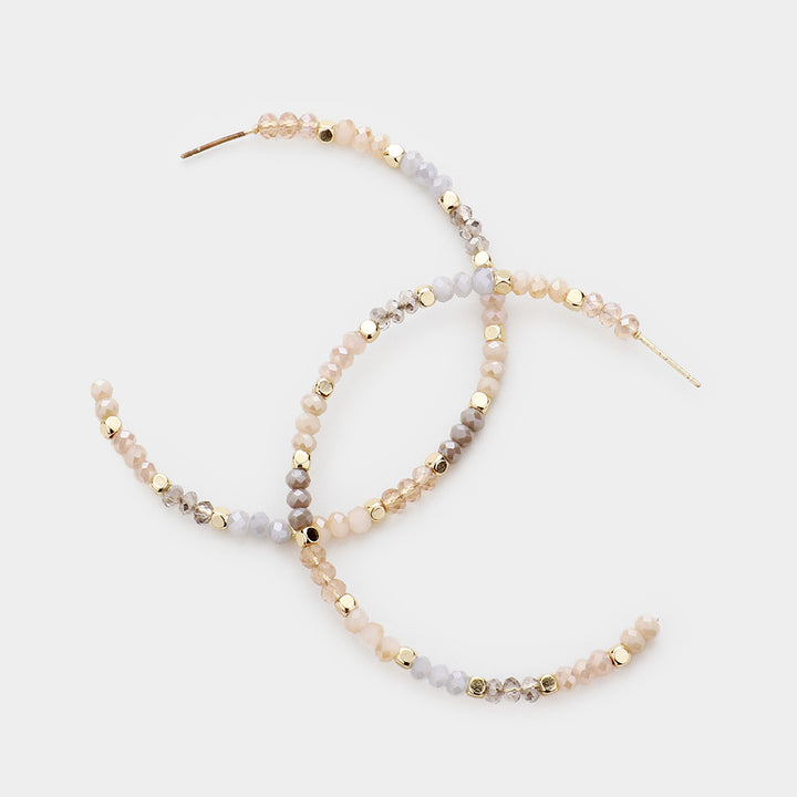 Blushed Metallic Neutrals Faceted Hoop Earrings