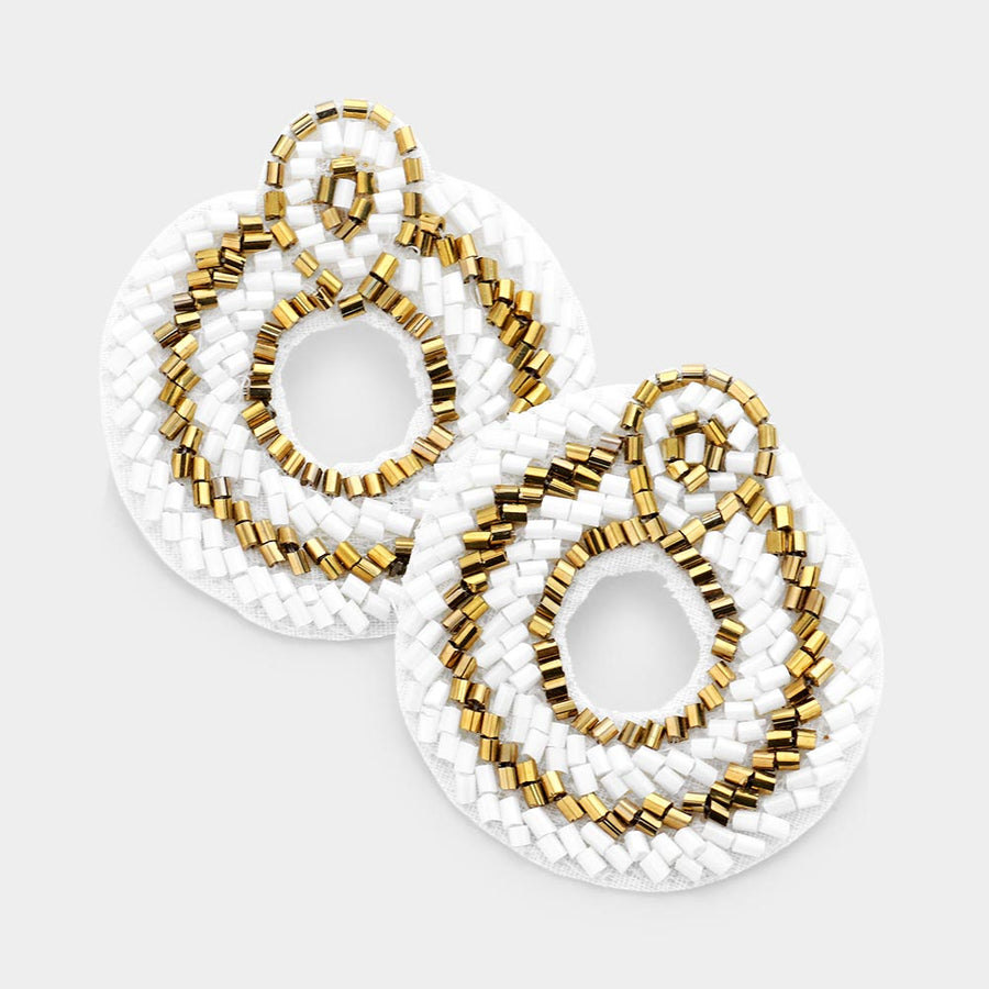 Seeing Through Beaded Earrings - White