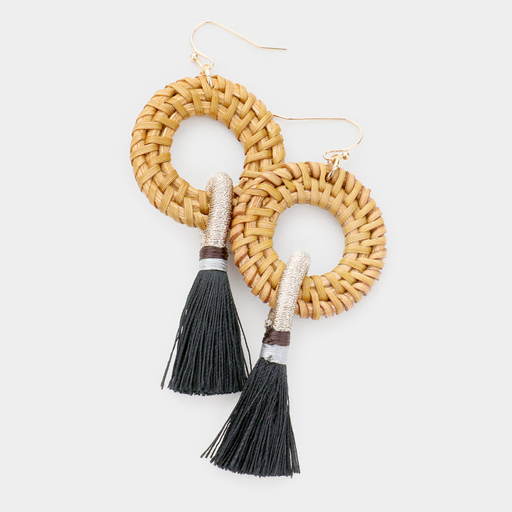 Basket Brilliance Tassel Earrings - Black