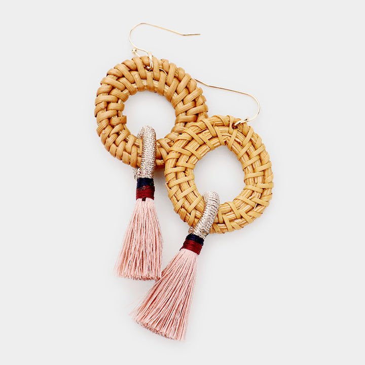 Basket Brilliance Tassel Earrings - Pink