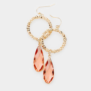 Take My Lead Crystal Drop Earrings  - Pink