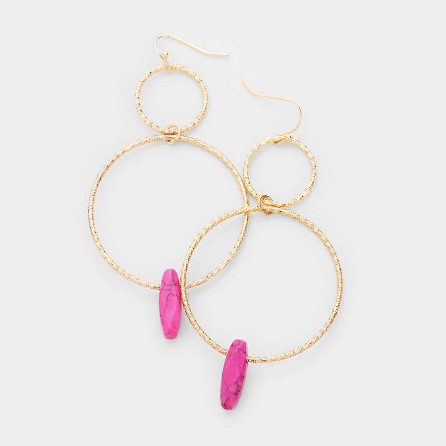 Double Trouble Stone Drop Earrings - Fuchsia