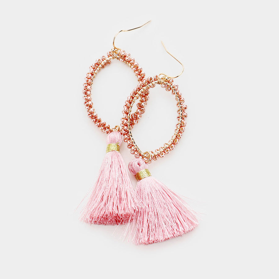 Clustered Together Beaded Tassel Earrings - Blush Pink