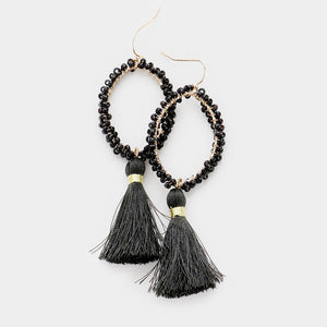 Clustered Together Beaded Tassel Earrings - Jet Black