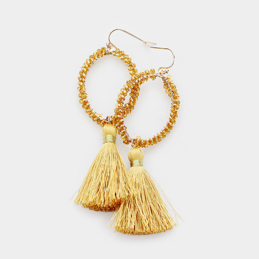 Clustered Together Beaded Tassel Earrings - Gold