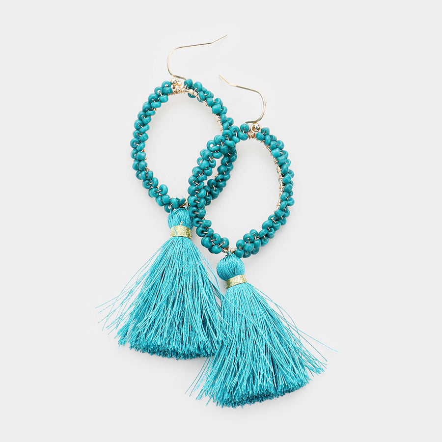 Clustered Together Beaded Tassel Earrings - Teal