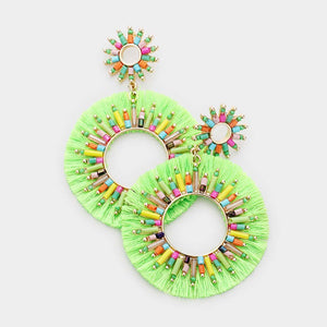 Rainbow Bright Tassel Earrings - Neon Green