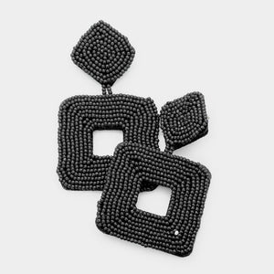 Square Angles Earrings - Black