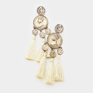 Doubloons Tassels Statement Earrings