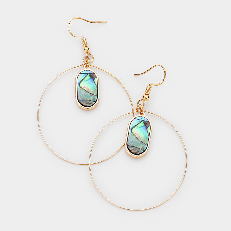 Dancing in the Moonlight Abalone Hoop Earrings